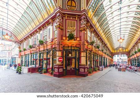 LONDON - NOV 10 : Leadenhall covered market interior pictured on November 10th, 2015, in London, UK.  - stock photo