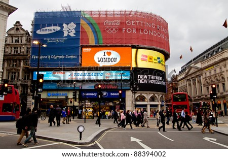 LONDON - NOV 4: Piccadilly Circus . A major intersection in Central London is now a tourist attraction on its own right in London, England on Nov 4, 2011. - stock photo