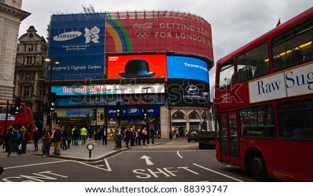 LONDON - NOV 4: Piccadilly Circus in London, England on Nov 4, 201. A major intersection in Central London is now a tourist attraction on its own right. - stock photo