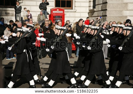 LONDON - NOV 11 : Unidentified Regiments as part of Remembrance Day, 11th every Nov, to remember armed forces who have died since First World War, Parade on Nov 11, 2012, London, UK.