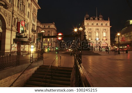 LONDON - NOV 7: View of Piccadilly Circus, road junction, built in 1819, famous tourist attraction, links to West End, Regent Street, Haymarket, Leicester Square, on Nov 7, 2010 in London, UK. - stock photo