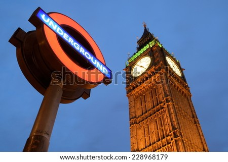 LONDON-NOVEMBER 5: Big Ben on November 5, 2014 anniversary of failed Gunpowder Plot of 1605 better known as Guy Hawkes night. Westminster station is closest station to Big Ben and House of Parliament - stock photo