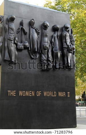 LONDON - NOVEMBER 17: National Monument to the Women of World War II, November 17, 2009 in London, UK. The Monument was sculpted by John W. Mills and dedicated by Queen Elizabeth II on July 9, 2005. - stock photo