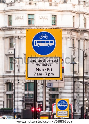 London, November 2017. Traffic warning signage at bank Junction  in the City of London.