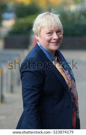 LONDON - OCT 23, 2016: Angela Eagle MP seen arriving for the ITV Peston On Sunday Show at the ITV studio's on Oct 23, 2016 in London