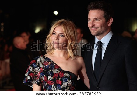 LONDON - OCT 28, 2015: Bradley Cooper and Sienna Miller attend Burnt film premiere on Oct 28, 2015 in London - stock photo