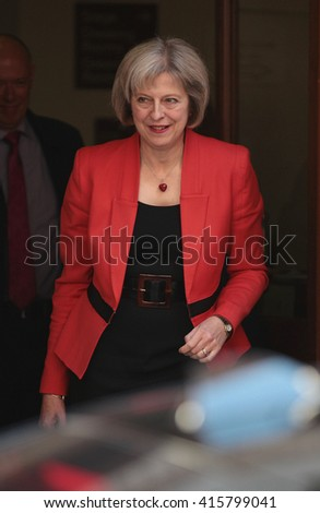 LONDON - OCT 9, 2015: Home Secretary Theresa May attends the Women in The World conference on Oct 9, 2015 in London