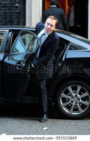 LONDON - OCT 13, 2015: Matthew Hancock seen at Downing Street on Oct 13, 2015 in London