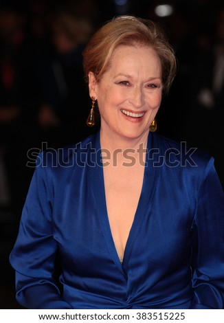 LONDON - OCT 7, 2015: Meryl Streep attends Suffragette film premiere and gala opening night, 59th BFI London Film Festival on Oct 7, 2015 in London - stock photo