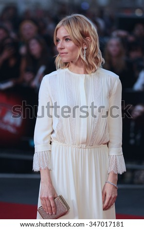 LONDON - OCT 9, 2015: Sienna Miller attends the High-Rise premiere at the 59th BFI London Film Festival on Oct 9, 2015 in London