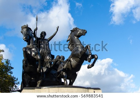 LONDON - 18OCT2016:  Statue of Boadicea and Her Daughters located at the western end of Westminster Bridge. It is the work of Thomas Thornycroft.