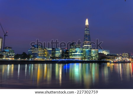 LONDON- OCT. 31: The shard building at london bridge, now complete is the tallest building in europe at over 1,000 feet . London, October, 2014.
