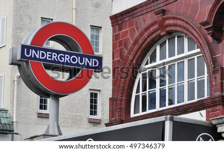 LONDON - OCTOBER 1, 2016. A freestanding London Transport underground railway sign at the Belsize Park station which opened in 1907 at Haverstock Hill, London, UK.