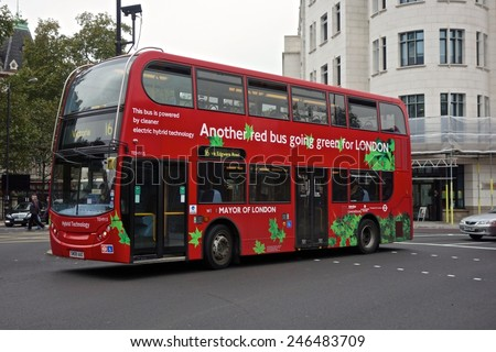 LONDON - OCTOBER 16: A London bus on June 26, 2014 in London, London buses are increasingly fuel efficient. October 16, 2014 in London. - stock photo