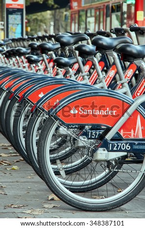 LONDON -October 31 : Citybike hire . London 31 October 2015  - stock photo