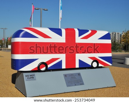 LONDON - OCTOBER 27. London celebrates the importance of its buses with decorative bus models on October 27, 2014; this one painted with the Union Jack flag by Kristel Movahed at Stratford, London. - stock photo