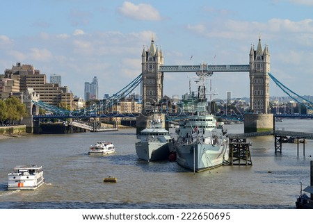 LONDON - OCTOBER 03: London Tower Bridge and HMS Belfast on October 03, 2014 in London, UK. London is one of the world's leading tourism destinations