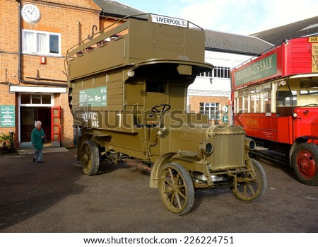 LONDON - OCTOBER 16: One of over 1,000 London buses sent to France for use as troop transports during the First World War and now restored at the London Bus Museum. October 16, 2014 in London. - stock photo