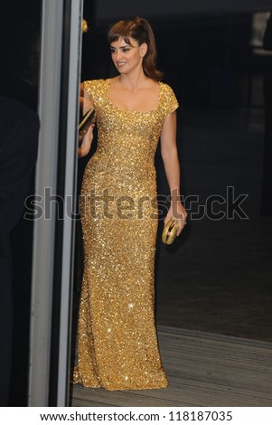 """LONDON - OCTOBER 23: Penelope Cruz arriving for the """"Skyfall"""" world premiere after party at the Tate Modern 23/10/2012 in London. - stock photo"""