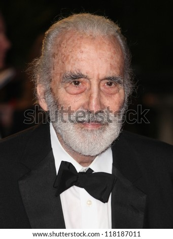 LONDON - OCTOBER 23: Sir Christopher Lee arriving for the Royal World Premiere of 'Skyfall' at Royal Albert Hall 23/10/2012 in London.