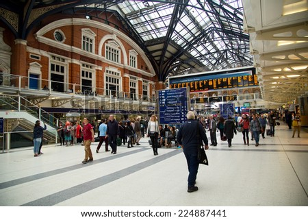 LONDON - OCTOBER 18TH: The interior of Liverpool street station on October 18th, 2014 in London, england, uk. Liverpool street is the busiest commuter station in London. - stock photo