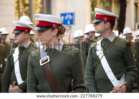 LONDON - OCTOBER 28TH: The royal marines on parade at the guildhall on October the 28th 2014 in London, England, UK. The events marks the royal marines 350th anniversary. - stock photo