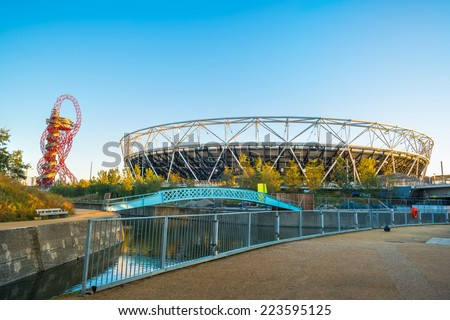 LONDON - October 11th 2014: View of the Olympic Stadium - the legacy of the Games it was closed for renovation in 2013.  Once re-opened in 2016, it will be a home of West Ham United Football Club - stock photo