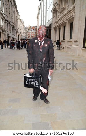 London - October 12: The 2013 London Zombie Walk which raises money for St Mungo's Homeless Charity, London October 12th, 2013 in London England. - stock photo