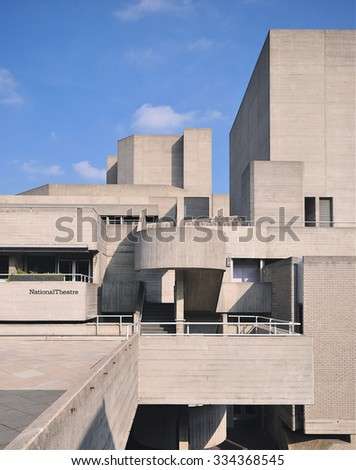 LONDON - OCTOBER 4, 2015. The National Theatre, designed by Denys Lasdun and completed in 1977, is a notable example of concrete Brutalist design, located at the Southbank in London, UK.