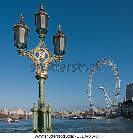London old and new seen from Westminster Bridge - stock photo