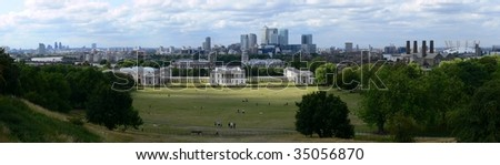London panorama from Greenwich with Queen house and Canary Wharf - stock photo
