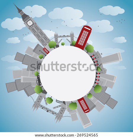 London panorama with big ben and skyscrapers illustration with copy space. Business travel and tourism concept with place for text. Image for presentation, banner, placard and web site.