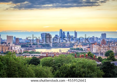 London Panorama with Modern Buildings in the background. - stock photo