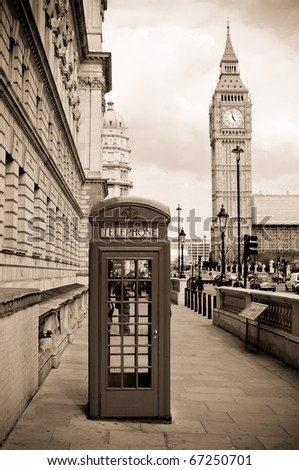 London phone box and Big Ben, sepia