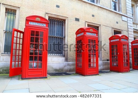 London phone boxes - red telephone kiosks in the UK.