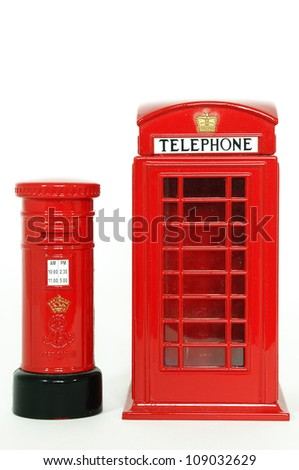 London postbox and telephone box - stock photo