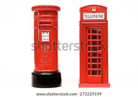London postbox and telephone box - stock photo