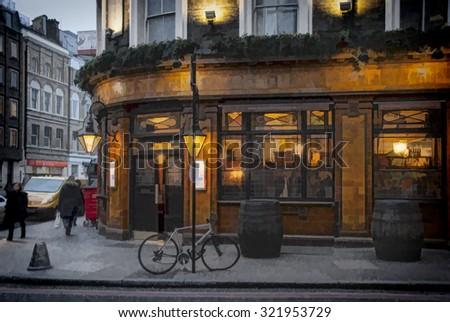 London Pub illustration 2 - stock photo
