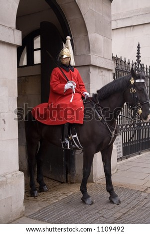 London Queen guard on horse - stock photo