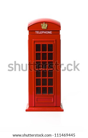 London red telephone box on white background - stock photo