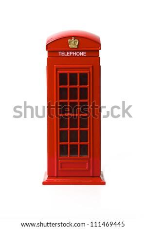 London red telephone box on white background - stock photo