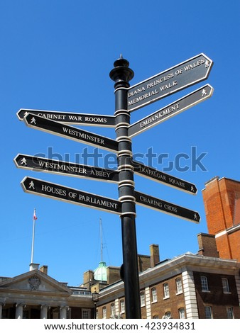 London retro street signpost giving directions to some of London's most famous landmark attractions