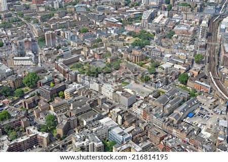 London rooftop view panorama with urban architectures. - stock photo