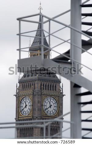 London's Big Ben seen through a spiral staircase - stock photo