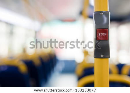London's double decker bus stop button for getting off.  - stock photo