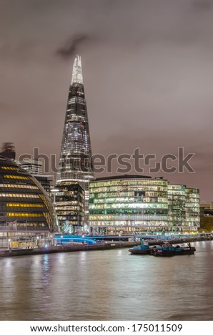 London's modern cityskape with tallest building The Shard and Town Hall night shoot - Stock Image - stock photo