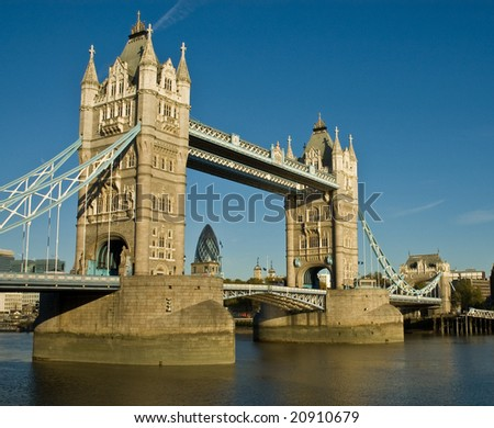 London's Tower Bridge crossing the Thames River - stock photo