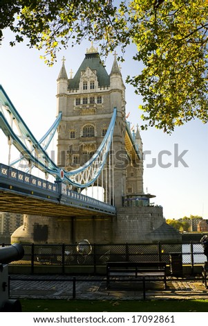 London scene, The Tower Bridge over River Thames. - stock photo