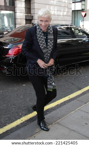 LONDON - SEP  15: Annie Lennox  seen at the BBC building on Sep 15, 2014 in London - stock photo