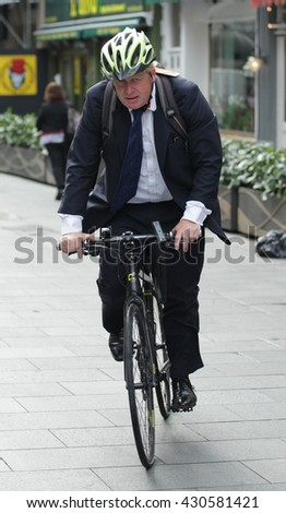 LONDON - SEP 1, 2015: Boris Johnson Mayor of London seen arriving at Global House on Sep 1, 2015 in London